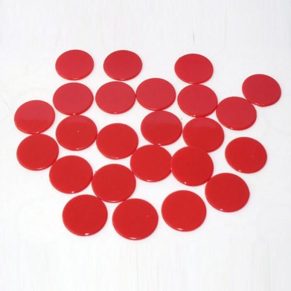 100 Roulette-Spielmarken, Spielchips, Zählchips aus Kunststoff rot (22 mm)