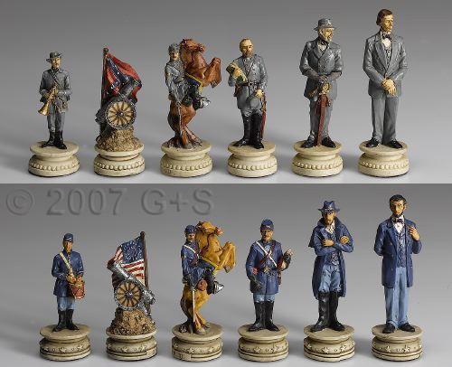 Schachfiguren Amerikanischer Bürgerkrieg, große Ausführung