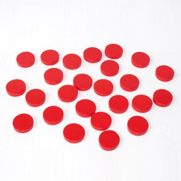 100 Spielchips, Roulette Spielmarken, Zählchips aus Holz, rot (15 x 4 mm)