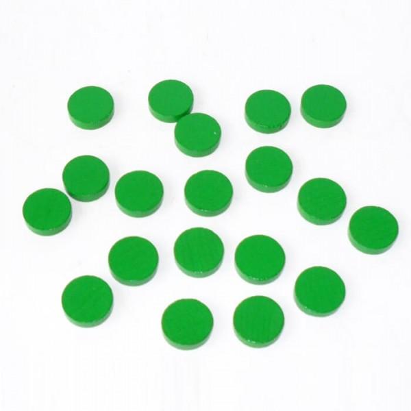 100 Spielchips , Roulette Spielmarken , Zählchips aus Holz , grün (15 x 4 mm)
