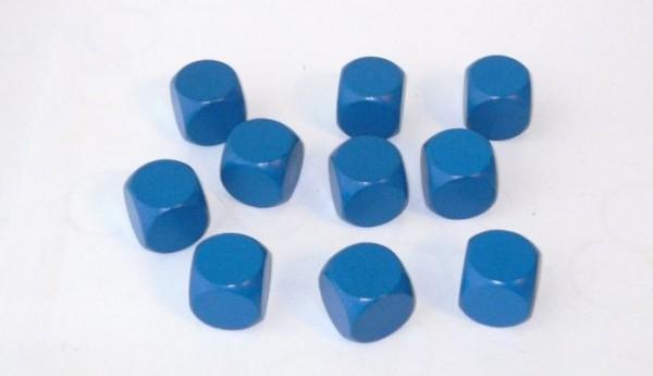 10er-Set Blankowürfel aus Ahornholz (20 mm), blau