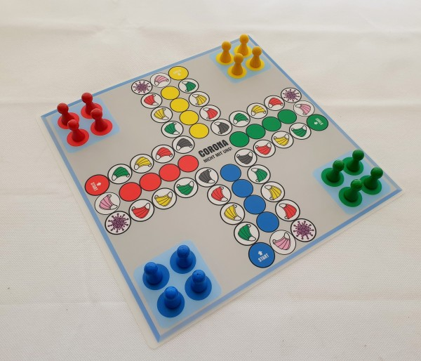 Sparpreis - Corona nicht mit uns! und Ludo - doppelseitiger Spielplan 2 Ludospiele 30x30