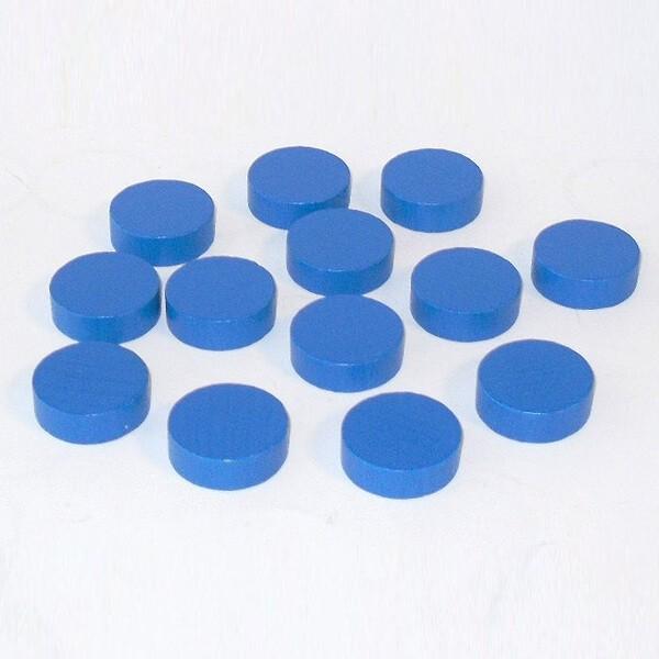 100 Spielchips, Roulette-Spielmarken, Zählchips aus Holz, blau (25 x 7 mm)