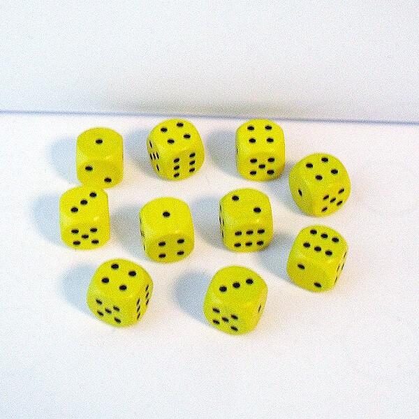 10 Würfel aus Ahornholz (16 mm), gelb