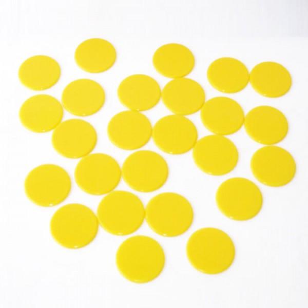 100 Roulette-Spielmarken, Spielchips, Zählchips aus Kunststoff gelb (22 mm)