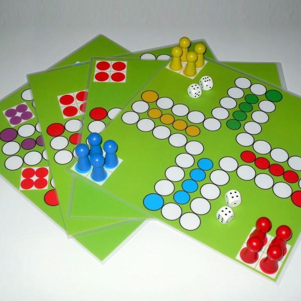 Große Ludo - Spielesammlung - 4 Ludospiele im Set, 30x30 cm