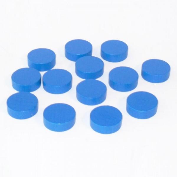 100 Spielchips, Roulette Spielmarken, Zählchips aus Holz, blau (21 x 7 mm)