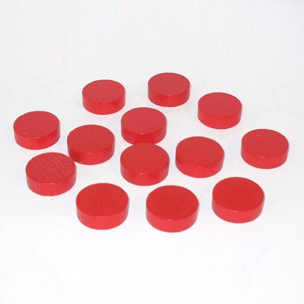 100 Spielchips, Roulette-Spielmarken, Zählchips aus Holz, rot (25 x 7 mm)