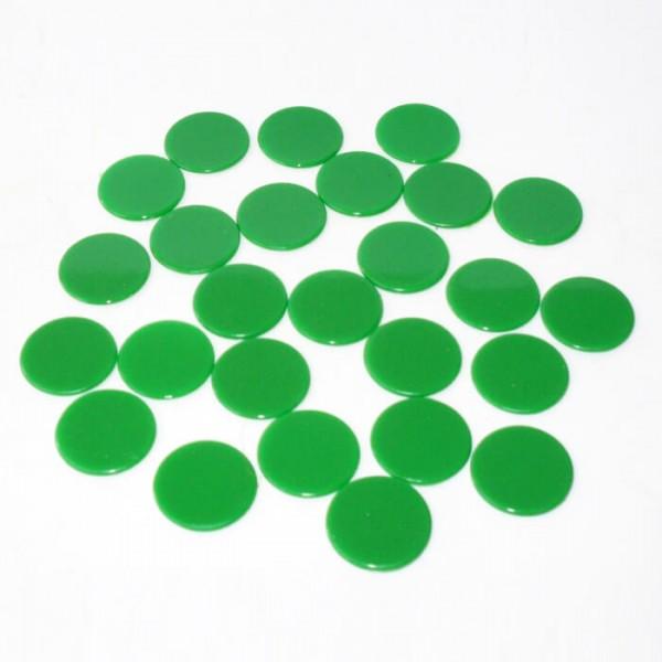100 Roulette-Spielmarken, Spielchips, Zählchips aus Kunststoff grün (22 mm)