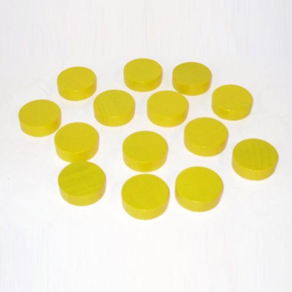 100 Spielchips, Roulette Spielmarken, Zählchips aus Holz, gelb (21 x 7 mm)