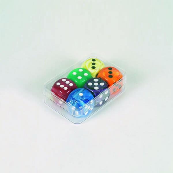 "6 Stück Würfel aus Acrylglas ""Marmor"" (16 mm), gemischt"