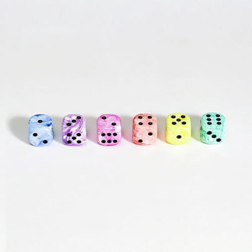 """100 Stück Würfel aus Acrylglas """"Pastell"""" (16 mm), gemischt"""