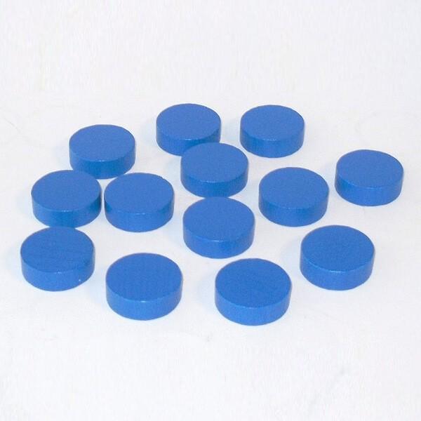 20 Spielchips, Roulette-Spielmarken, Zählchips aus Holz, blau (30 x 8 mm)