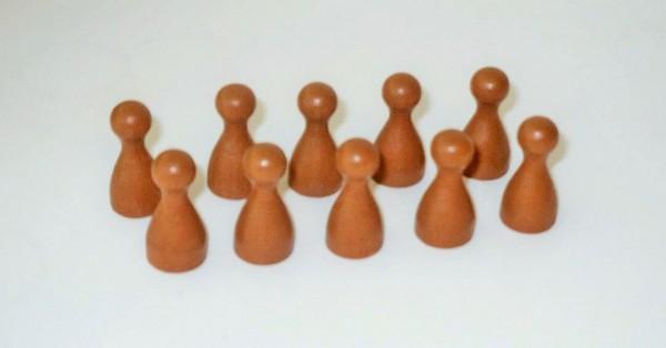 100 Stück Halmakegel aus Holz (25 mm), hellbraun
