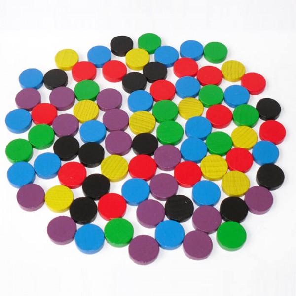 100 Spielchips, Roulette Spielmarken, Zählchips aus Holz, farblich gemischt (15 x 4 mm)