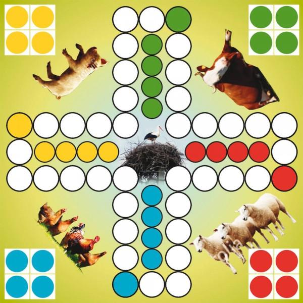 Selbsthaftender Spielplan Ludo Tiere vom Bauernhof, 30x30 cm