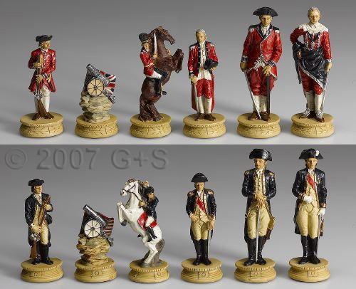 Schachfiguren Amerika vs. England