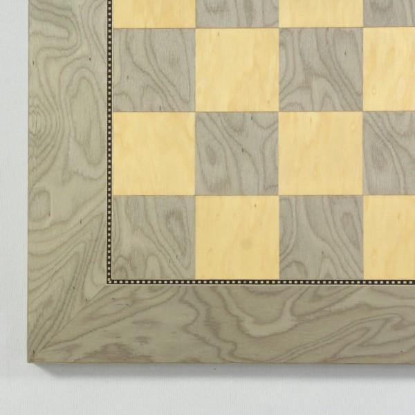 Schachbrett Esche Maser grau/natur (Feldgröße 45 mm)
