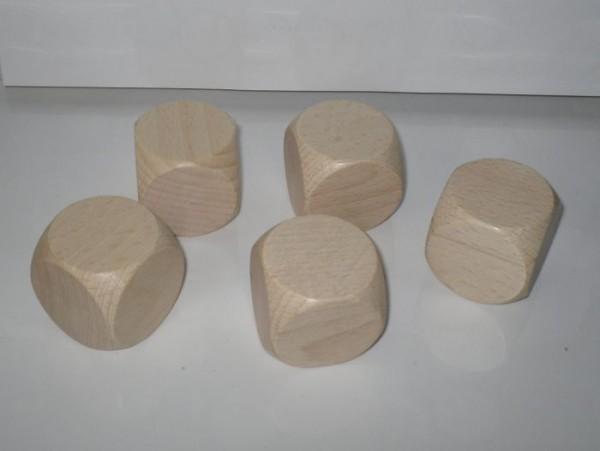 100 Blankowürfel aus Ahornholz (40 mm), natur