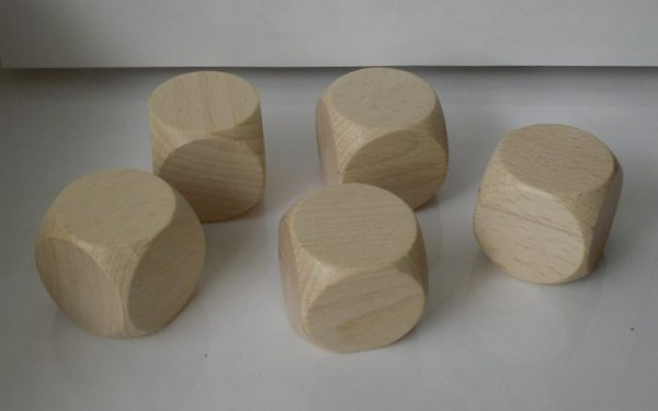 5 Blankowürfel aus Ahornholz (30 mm), natur