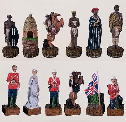 Schachfiguren Zulu vs. England