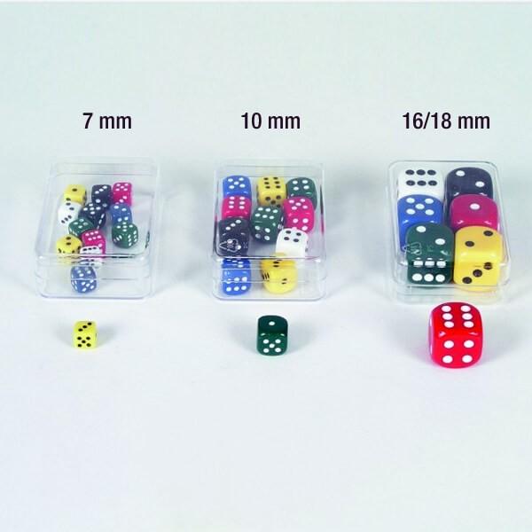 """12er Set Würfel aus Acrylglas """"Uni"""" (7 mm), gemischt"""