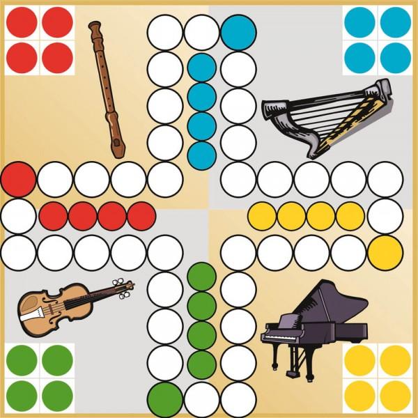 Selbsthaftender Spielplan Ludo Musikinstrumente, 30x30 cm