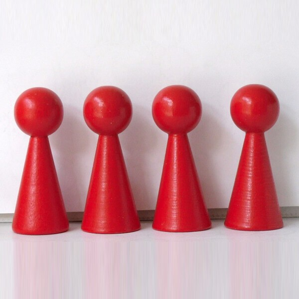 """4 Figurenkegel , Spielfigur , Halmakegel """"Gigant"""" aus Holz (100 mm), rot"""