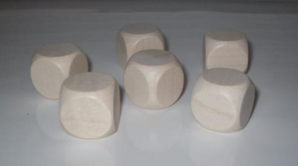 12 Blankowürfel aus Ahornholz (25 mm), natur