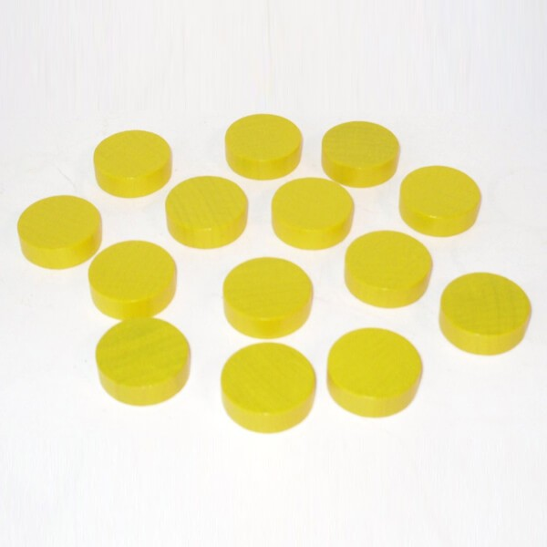 20 Spielchips, Roulette-Spielmarken, Zählchips aus Holz, gelb (30 x 8 mm)