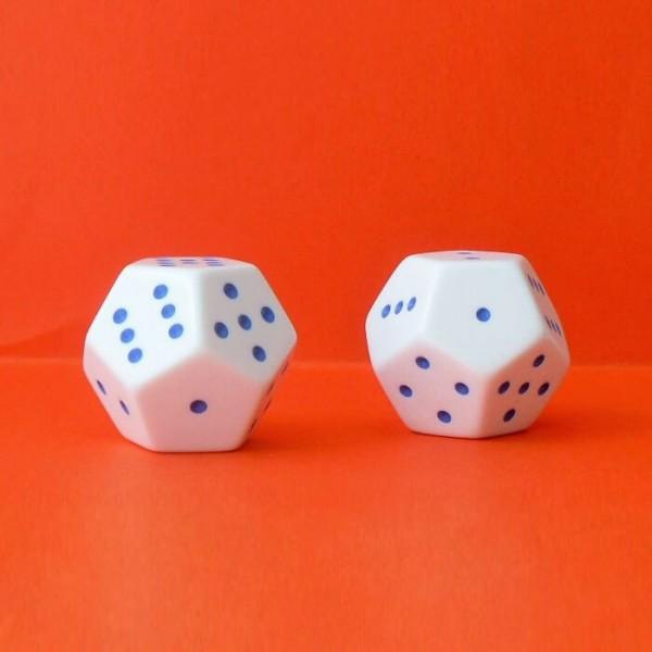 2 Schulwürfel - Dodekaeder, Augenwürfel 12-seitig, weiß-blau