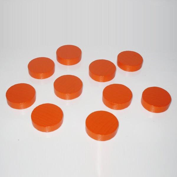 100 Spielchips, Roulette-Spielmarken, Zählchips aus Holz, orange (25 x 7 mm)