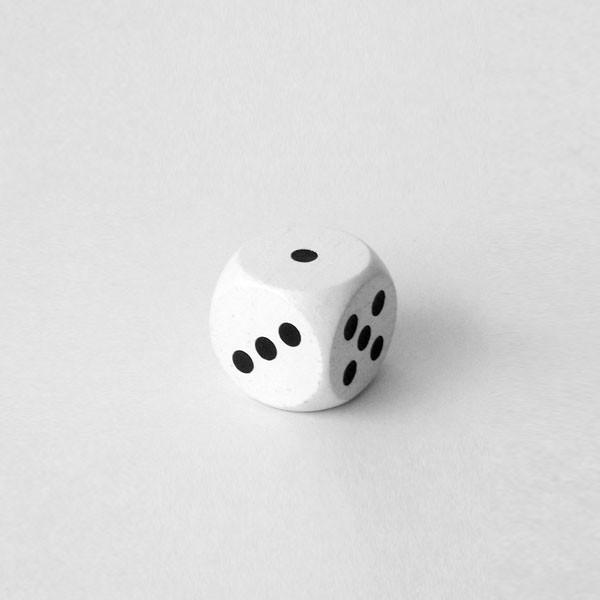 Jumbowürfel aus Holz (25 mm), weiß