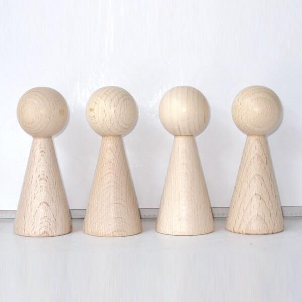"""4 Figurenkegel , Spielfigur , Halmakegel """"Gigant"""" aus Holz (100 mm), natur"""