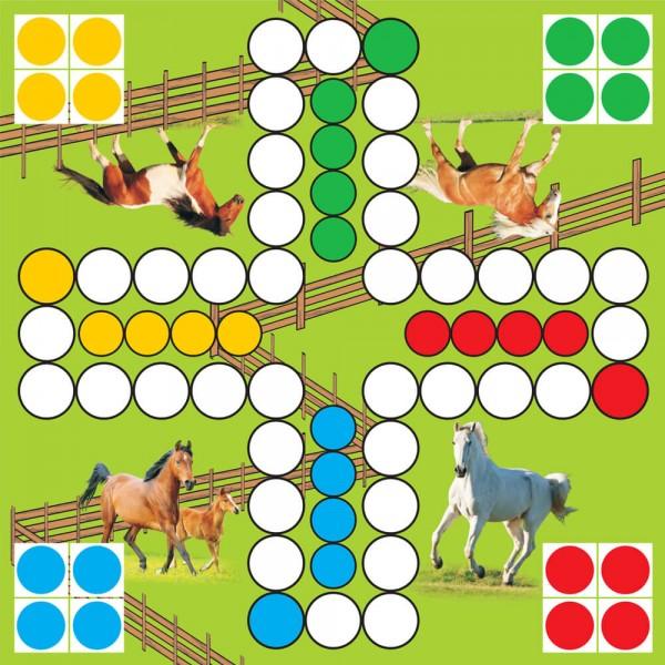 Selbsthaftender Spielplan Ludo Pferde, 30x30 cm