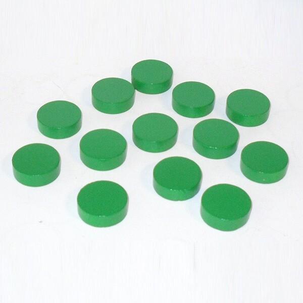 100 Spielchips, Roulette-Spielmarken, Zählchips aus Holz, grün (25 x 7 mm)