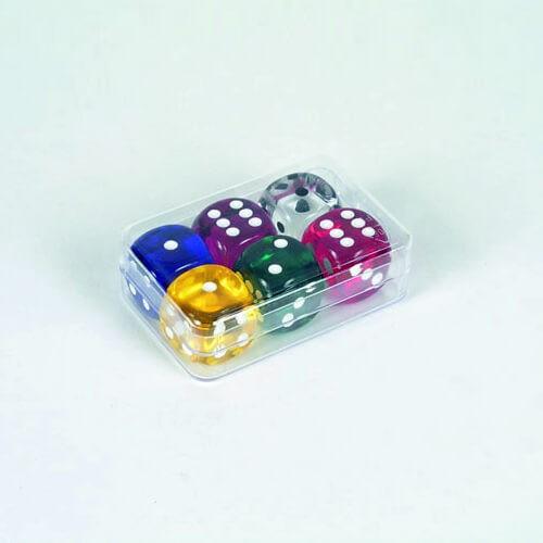 "6 Stück Würfel aus Acrylglas ""Transparent"" (18 mm), gemischt"