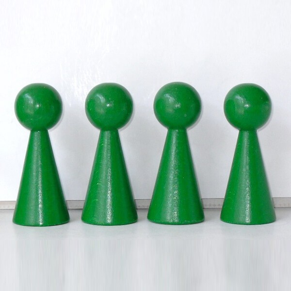 "4 Figurenkegel , Spielfigur , Halmakegel ""Gigant"" aus Holz (100 mm), grün"