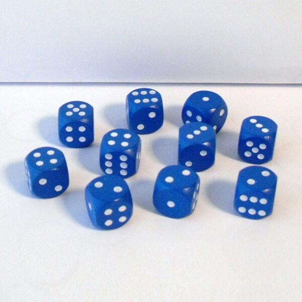 10 Würfel aus Ahornholz (16 mm), blau