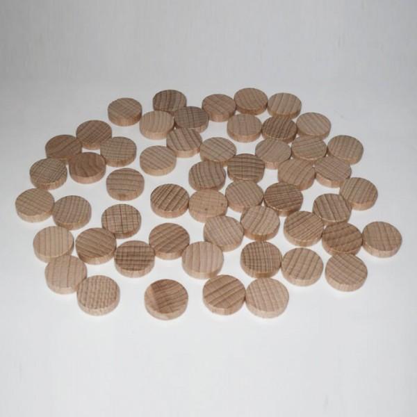 100 Spielchips, Roulette Spielmarken, Zählchips aus Holz, natur (15 x 4 mm)