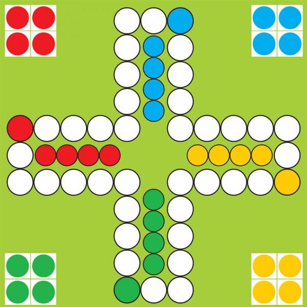 Selbsthaftender Spielplan Ludo für 4 Personen, 30x30 cm