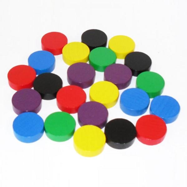 100 Spielchips, Roulette Spielmarken, Zählchips aus Holz, farblich gemischt (21 x 7 mm)