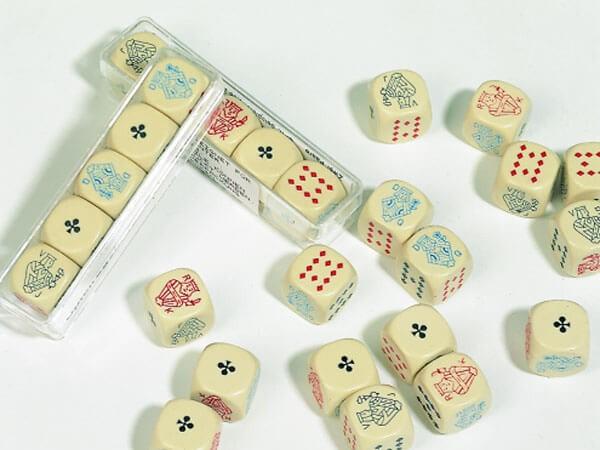 5 Stück Pokerwürfel aus Kunststoff