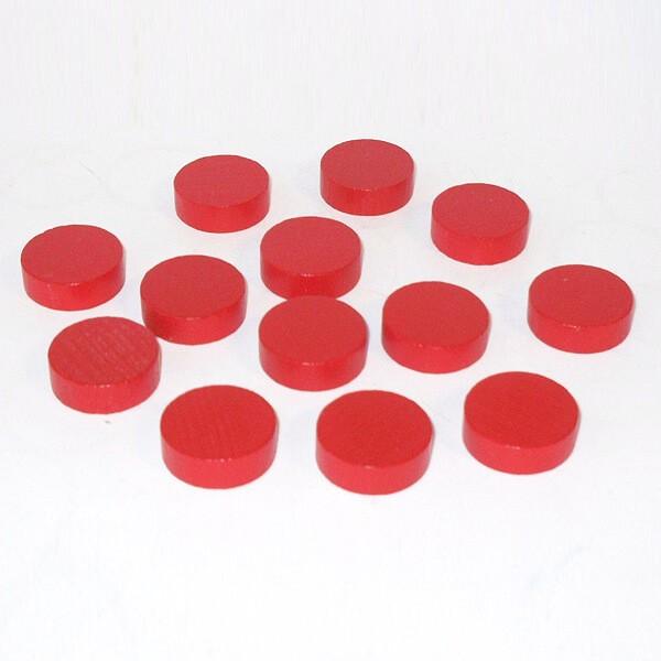 20 Spielchips, Roulette-Spielmarken, Zählchips aus Holz, rot (30 x 8 mm)