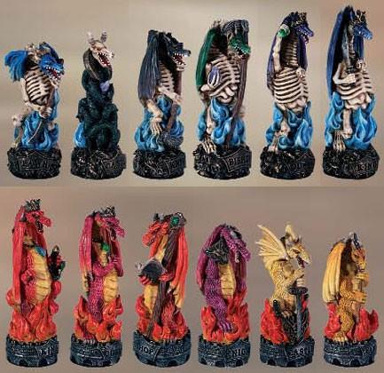 Schachfiguren Drachen Gut gegen Böse