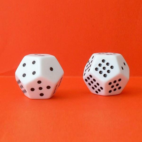 2 Schulwürfel - Dodekaeder, Augenwürfel 12-seitig, weiß-schwarz