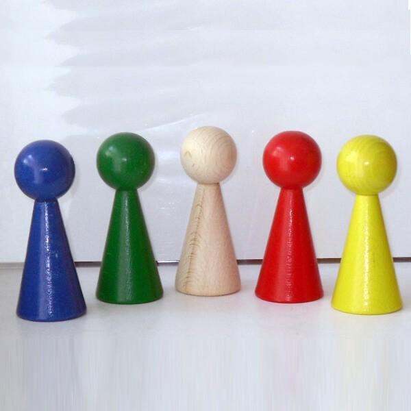 "5 Figurenkegel , Spielfigur , Halmakegel ""Gigant"" aus Holz (100 mm), 5 Farben"
