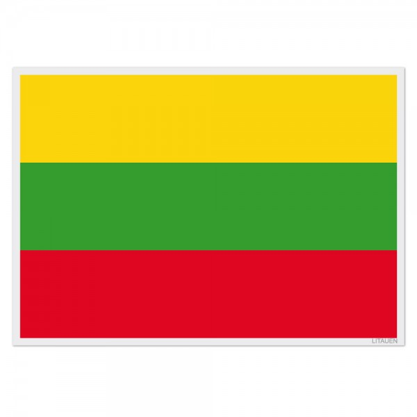 Selbsthaftende Flagge - Litauen (A3)