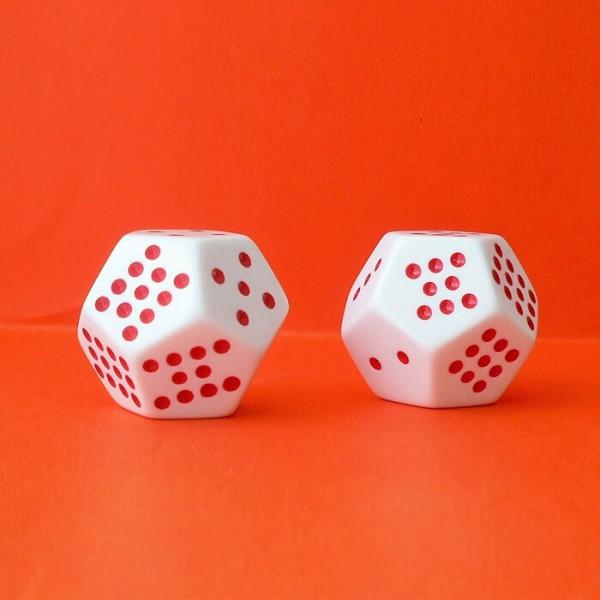 2 Schulwürfel - Dodekaeder, Augenwürfel 12-seitig, weiß-rot