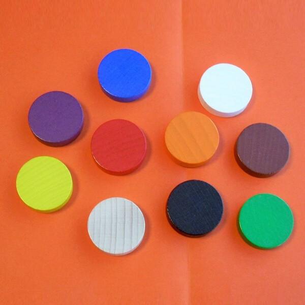 10 Spielchips-XL, Roulette-Spielmarken, Zählchips aus Holz, farblich gemicht (30 x 8 mm)